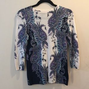 Talbots 100% cashmere paisley pullover sweather